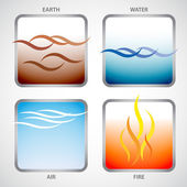 Illustration of the four elements: earth water air and fire