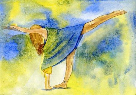 Photo pour Occupation par le yoga de la jeune fille n'empêche pas d'allaiter la fille - image libre de droit