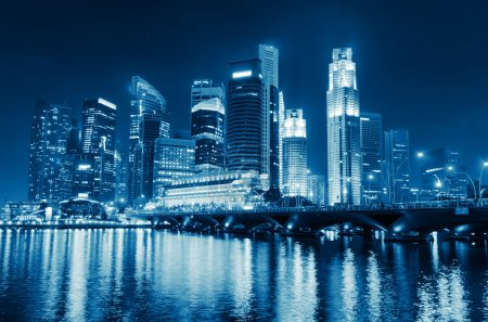 Singapore city skyline at night....