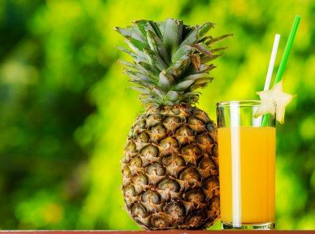 Photo pour Verre de jus d'ananas dans un jardin . - image libre de droit