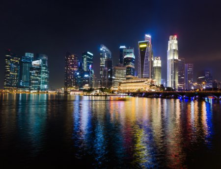 Photo for Singapore city skyline at night. - Royalty Free Image