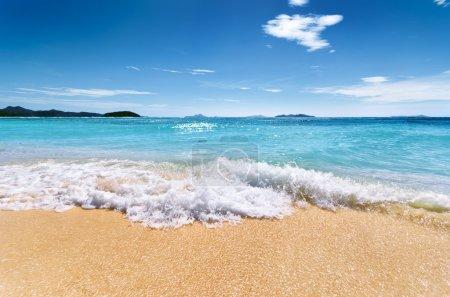 White sand beach and blue sky. Coron, Busuanga isl...