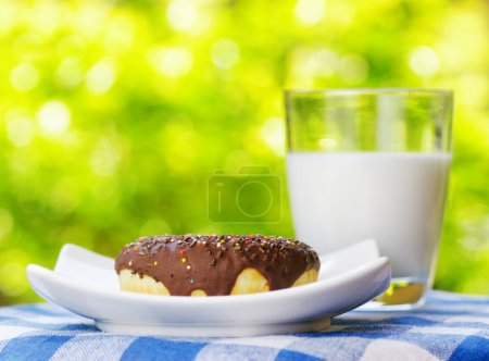 Fresh donut and glass of milk on nature background