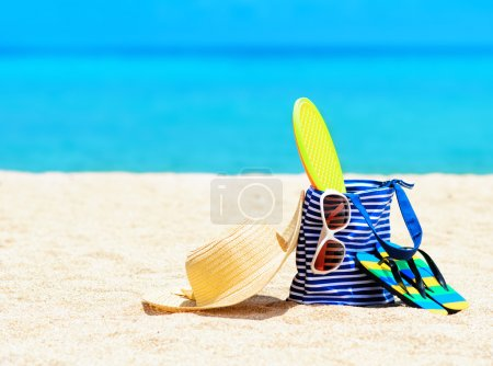 Photo for Beach accessories. Concept of summer vacations. - Royalty Free Image