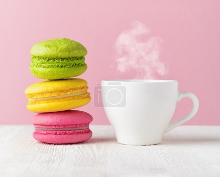 Photo for Macaron and cup of coffee. - Royalty Free Image
