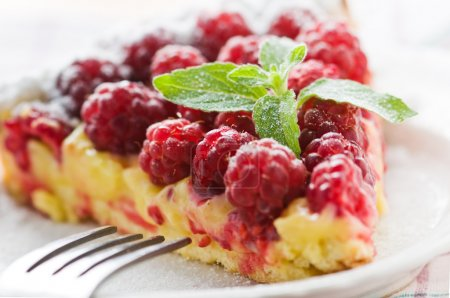 Photo for Raspberry cake isolated on white - Royalty Free Image