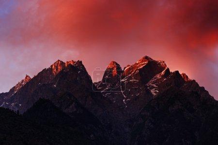 Photo for Beauty pink sunset on himalaya mountain - Royalty Free Image