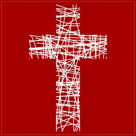 Illustration for White cross on red background - Royalty Free Image