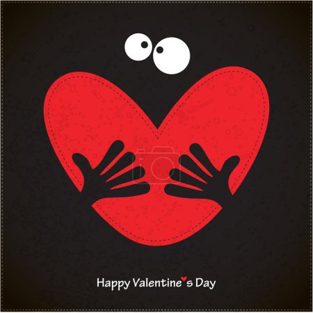 Illustration for Happy valentine's day card with heart and holding hands - Royalty Free Image