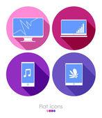 Set of four flat icons
