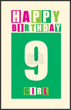 Retro Happy birthday card. Happy birthday girl 9 years. Gift card.