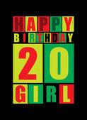 Retro Happy birthday card Happy birthday girl 20 years Gift card