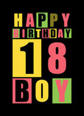 Retro Happy birthday card Happy birthday boy 18 years Gift card
