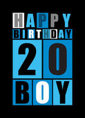 Retro Happy birthday card Happy birthday boy 20 years Gift card