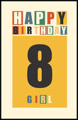 Retro Happy birthday card Happy birthday girl 8 years Gift card