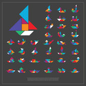Set of tangram ships