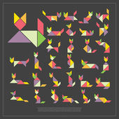 Set of tangram cats