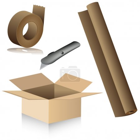 Illustration for An image of relocation packing supplies. - Royalty Free Image