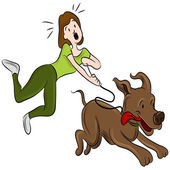 An image of a woman trying to walk her dog