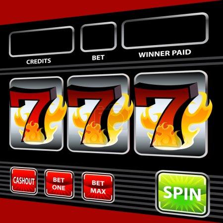 Illustration pour Une image d'un flamboyant chanceux sept machines à sous . - image libre de droit
