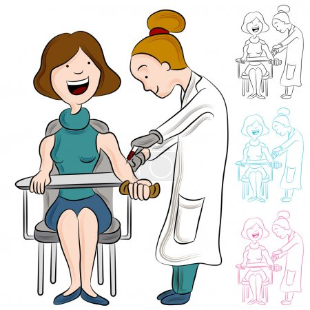 Illustration for An image of a woman taking a blood test. - Royalty Free Image