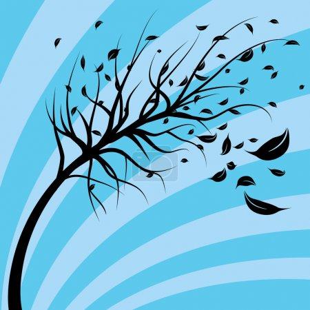 Illustration pour Une image d'un arbre soufflant dans le vent . - image libre de droit