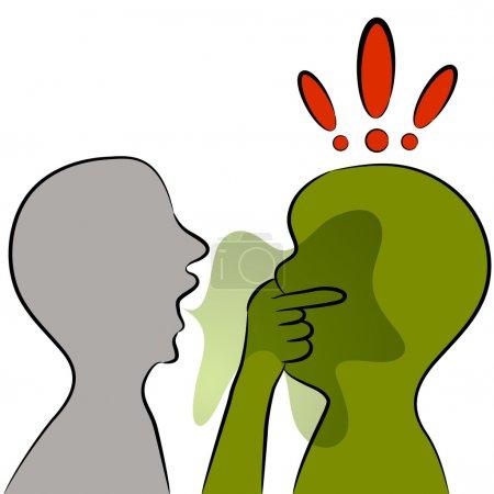 Illustration pour Une image d'un homme avec une mauvaise haleine . - image libre de droit