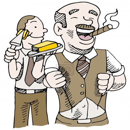 An image of a man buttering up his boss....