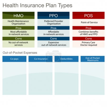 Illustration for An image of a health insurance plan type chart. - Royalty Free Image