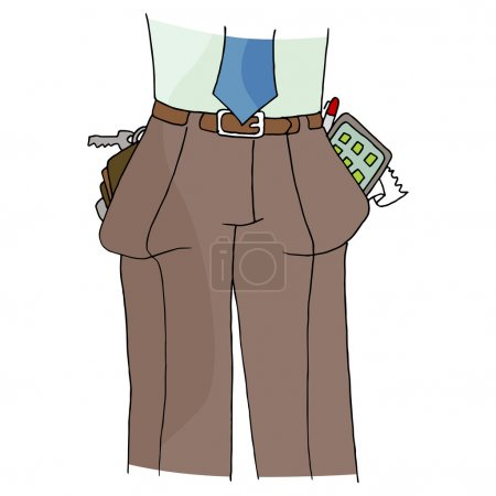 Illustration for An image of a man with full pockets. - Royalty Free Image
