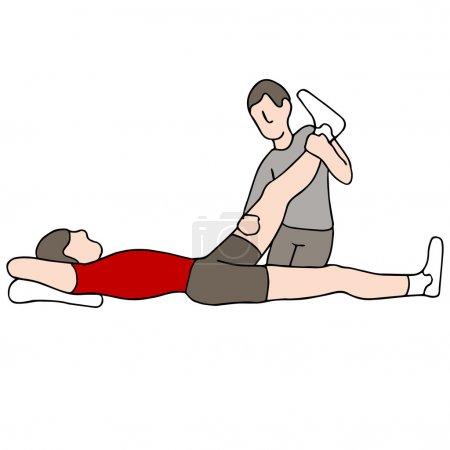 Illustration pour Une image d'un homme recevant une thérapie physique des jambes . - image libre de droit