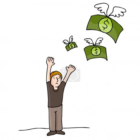 Illustration for An image of money flying away. - Royalty Free Image
