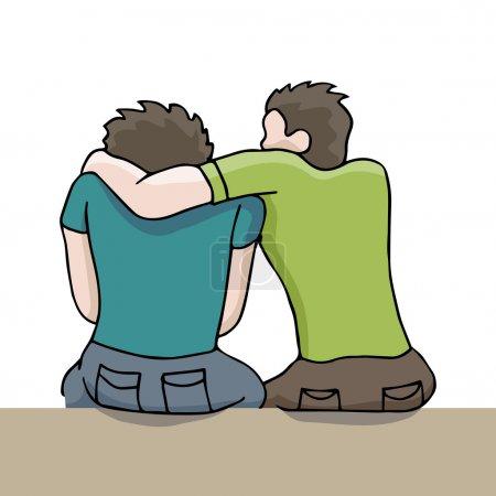 Illustration pour Une image d'un homme réconfortant un homme triste . - image libre de droit