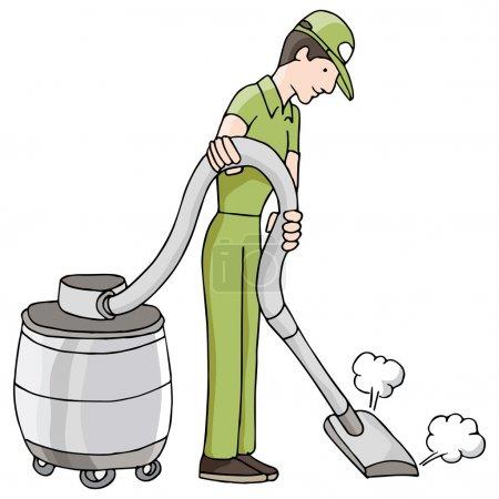 Man Using Wet Dry Vacuum