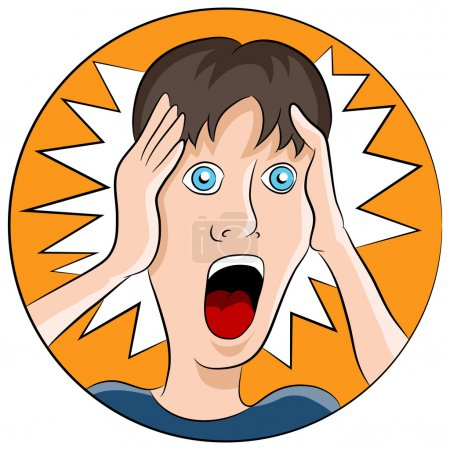 Illustration for An image of a man with a shocked facial expression. - Royalty Free Image
