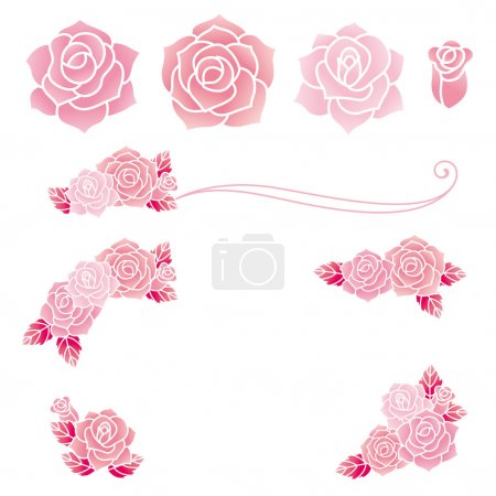 Illustration for Set of decorative roses. Vector illustration. - Royalty Free Image