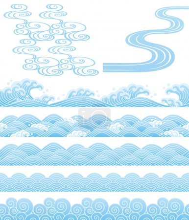 Illustration for Set of Japanese traditional wave. - Royalty Free Image