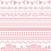 Set of pink decoration frag border stripe waves