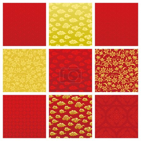 Illustration for Set of backgrounds in Chinese pattern. Vector illustration. - Royalty Free Image