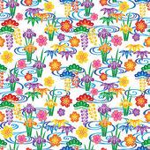 Hintergrund mit japanischen Blumen und Wirbel