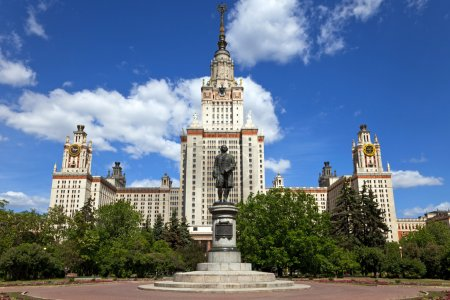 The main building of Moscow State University. Moscow, Russia.