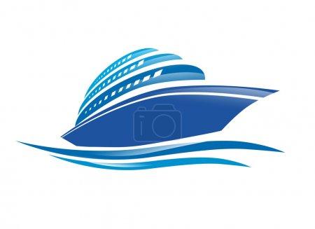 Illustration for Illustration of the Cruise Ship Over White Background - Royalty Free Image