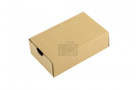 Cardboard box closed on white background.