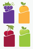 Fresh fruits and berries stickers and labels