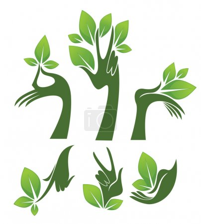 Green hands, vector collection of eco and beauty symbols