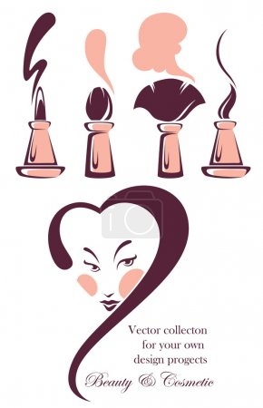 Vector collection of beauty and cosmetic symbols