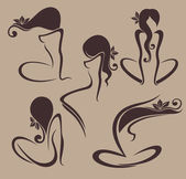 vector collection of beautiful girl images with decorative hair