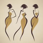 Vektorové kolekce dívek v retro stylu