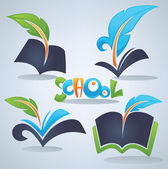 Back to school vector collection of books parchment reading a