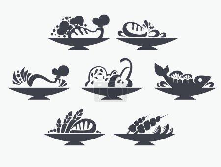 Illustration pour Signes et symboles de nourriture - image libre de droit